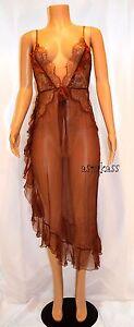 $328.00 Victoria's Secret Designer Collection Lace & Silk Slip  M   in brown