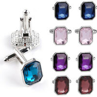 Men Lot Crystal Wedding Party Gift Shirt Cuff Links Cufflinks Fashion Decor