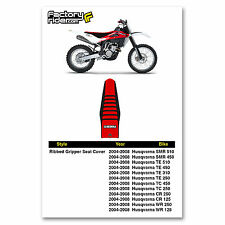 2004-2008 HUSQVARNA SMR TE TC CR WR Black/Red/Black RIBBED SEAT COVER