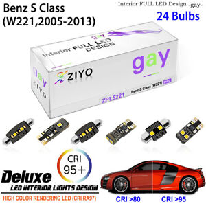 24 Bulbs LED Interior Light Kit Cool White For 2006-2014 (W221) Benz S-Class