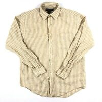 Mens Brooks Brothers Long Sleeve Button Down Shirt Medium Irish Linen Striped