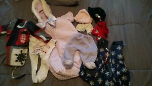 "Baby Doll Clothes - 9 pc. some handsewn/knitted -Chou , Cabbage Patch, 16""-18"""