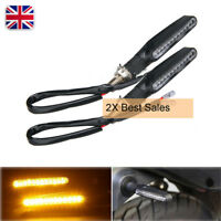 2X Motorcycle Turn Signal Indicator Light LED Mini Strip Blinker Amber Lamp