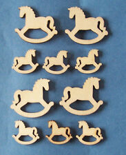 10 new natural wooden rocking horse shape card topper craft decoration