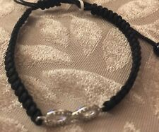 NWT Sterling Silver Black Onyx & Diamond Accent Fabric Strap Bracelet Retail $80