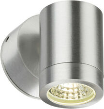 3W LED OUTDOOR WALL LIGHT BRUSHED CHROME IP65 FIXED GARDEN SPOTLIGHT LAMP