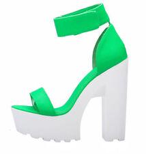 Roman Pumps Women Ankle Strap Platform  Block High Heels Sandal Goth Shoe