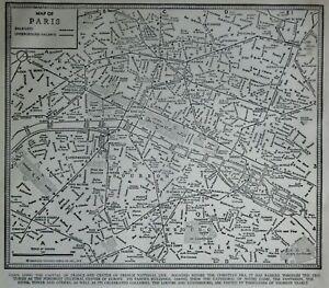 "Wonderful Vintage 1941 World War WWII Era Black & White City Map ""Paris, France"""