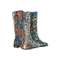 Womens Mid-calf Boots Fashion Snake Print Block Mid Heel Pointed Toe Party Shoes