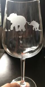 Stemmed Wine Glass - Following Mummy - Elephants - Personalised
