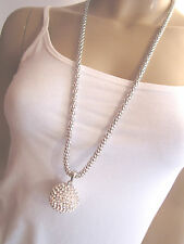 Damen Hals Kette Bettelkette lang Modekette Silber XL Strass Kugel Bling Bling