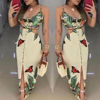 Womens Spaghetti Strap Printed Long Dress Sleeveless Maxi Tropical Cutout Dress
