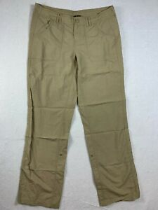 North Face Roll Up Snap Leg Pants Womens 10 Light Brown Outdoor Hiking Walking