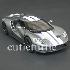 Kinsmart 2017 Ford Gt 1:38 Diecast Toy Car Grey With White Stripes