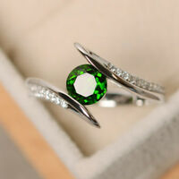 Elegant 925 Silver Wedding Rings for Women Round Cut Emerald Ring Size 6-10