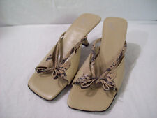 White Mountain Women's Beige Leather Heels Dress Sandals Shoes Bow sz 7M