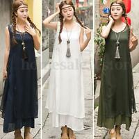 Women Sleeveless Sundress Slit Outerwear Double Layers Sun Smock Long Maxi Dress