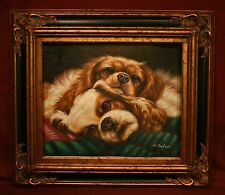 Beautiful Cavalier King Charles Spaniels Ruby and Blenheim Oil Painting
