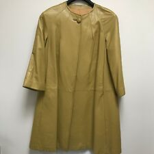 Vintage Yellow Leather Coat A-Line 60's Drop shoulder Fully lined USA 8