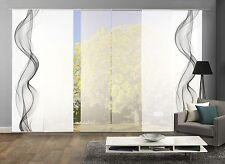 Schiebegardinen 6er Set, Digitaldruck Rauchschwade grau