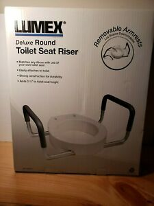 LUMEX Toilet Seat Riser with Removable Armrest  6482R-2 Deluxe ROUND