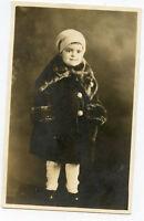 Real Photo Postcard - Cute Child in Snowsuit & Cap