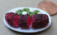 1:12 Sliced Roast Beef Joint On A Ceramic Plate Dolls House Miniature Meat hw