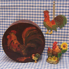 CHICKEN ROOSTER HEN BOX FIGURINE ORNAMENT FARM Lot of 4