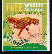 Vintage Stamp Collecting Old Match Book Cover Wildlife Cheetah Coupon Inside