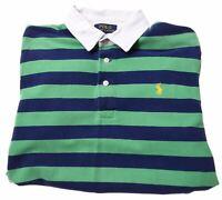 POLO RALPH LAUREN Boys Polo Shirt 14-15 Years Large Green Striped Cotton  R105