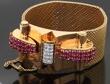 Art Deco heavy 18K YG 6.33CT VS diamond & ruby 28.3mm wide chunky bracelet