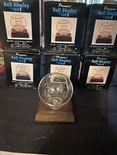 Premier BASEBALL HOLDER, Walnut BASE baseball display case on base/stand #2