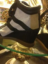 """Sam Edelman BOLTON LEATHER Wedge High-top  Sneakers Size 8 M, Heel Height 3.75"""""""