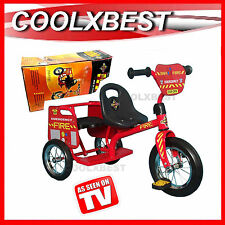NEW EUROTRIKE FIRE CHIEF TRICYCLE KIDS RIDE ON TRIKE with TANDAM SEATS 2 SEATER