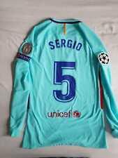 Sergio Barcelona 2017-2018 Champions League Match Prepared Shirt