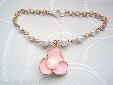 *BLUSH BLOSSOM FLOWER PEARL* Rose Gold Plated Charm Bracelet VINTAGE STYLE Peach