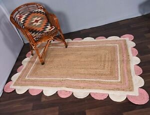 beige colour white-pink scalloped rug indian design rug rectangle floor jute rug