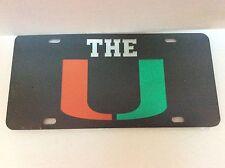 Miami Hurricanes, The U License Plate Laser Cut Mirrored Car Tag, Black