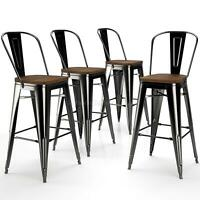 4 30'' High Back Metal Bar Stool W/ Wooden Seat Barstool Home Kitchen Cafe Chair