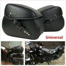 Left & Right Motorcycle Pannier Saddlebag Luggage Bags w/ Rain Cover PU Leather