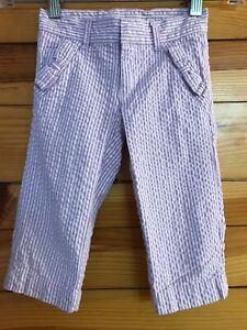 Gymboree Daffodil Garden Capri Bow Pants Girls Lilac Seersucker Cropped  4 Slim
