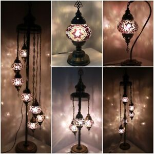 Purple Colour 1/3/5/7 Glass Turkish Moroccan Style Glass Floor/Table Lamp