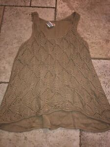 Route 66 Womens beige open weave crochet sleeveless Top sz XL