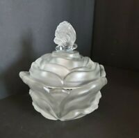 Fenton Rose Shaped FROSTED covered candy nut dish with Butterfly Handle