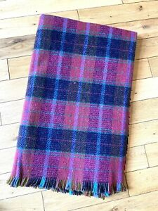 Bright Pink Green Blue Coloured 100% Welsh Wool Fringed Blanket Cambrian Mill