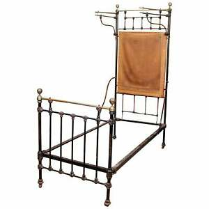Antique Cast Iron Bed Frame Brass Victorian 19th Century Bedframe Ebonised