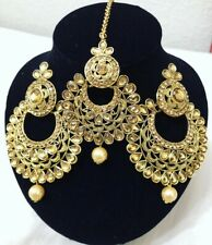 Indian Bollywood Style Gold Earrings With Maang Tikka Jewelry Set