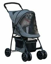 Dog Cat Pet 3 Wheel Carrier Folding Travel Stroller Zipper Storage Basket
