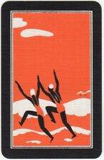 Playing Cards 1 Swap Card - Old Vintage Art Deco BEACH Girls Jumping Waves 2