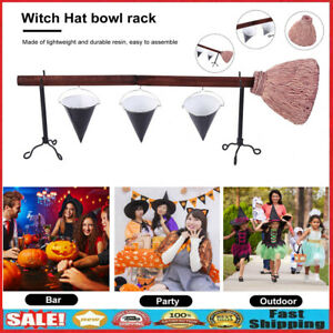 Halloween Snack Bowl Broom Stand Witch Basket for Dessert Biscuit Candy Decor